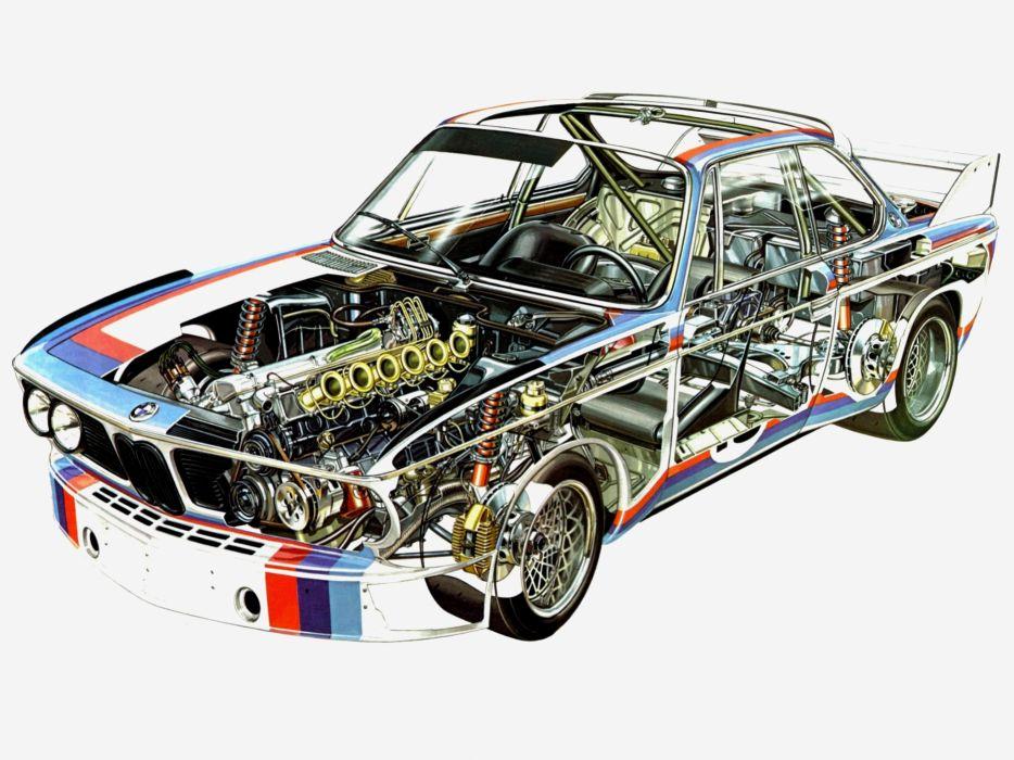 1971 BMW 3_0 CSL Race Car E-9 racing interior engine          f wallpaper