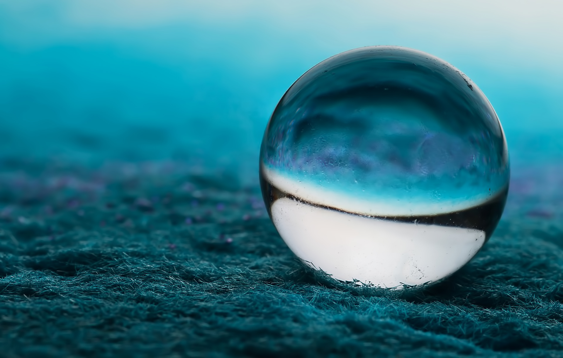 Close up ball blue bokeh glass marble wallpaper for 3d marble wallpaper