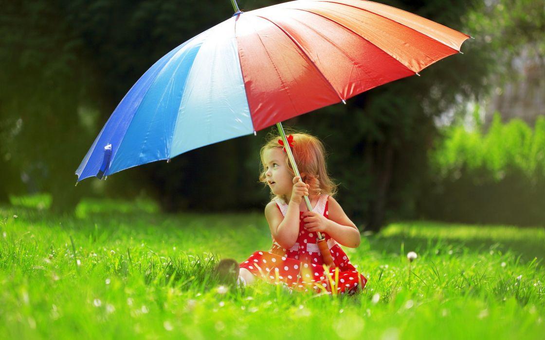 Little Girl With Umbrella Cute Grass wallpaper
