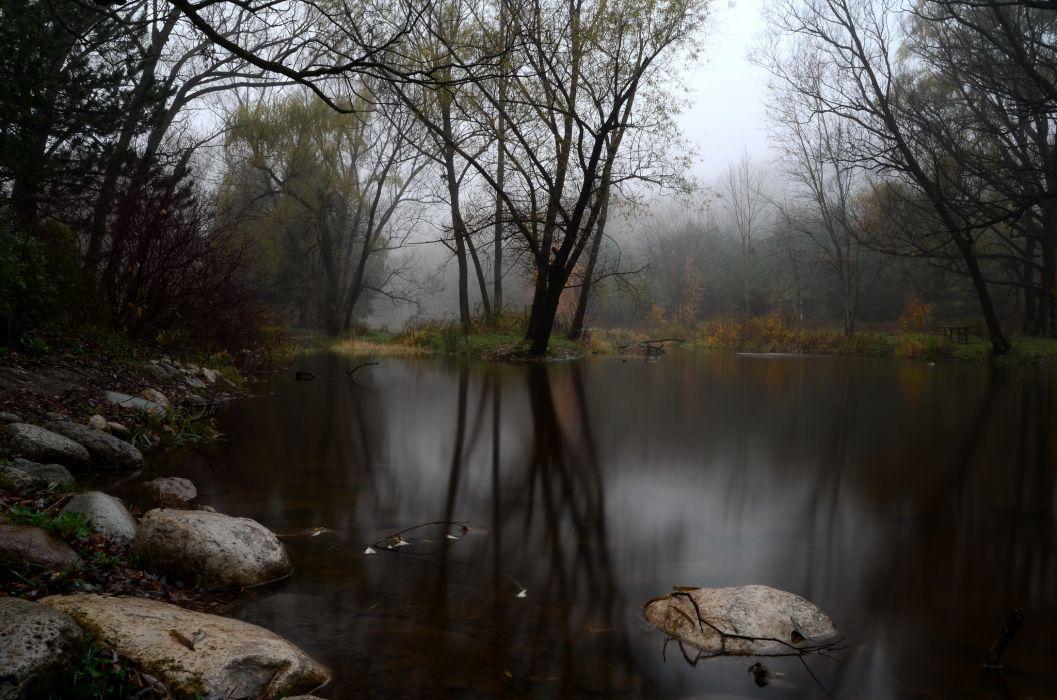 Wallpapers Hd Tumblr Paisajes: Fog Forest Lake Autumn Stones Wallpaper
