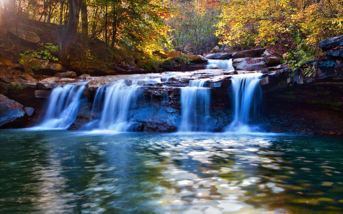 river waterfall autumn wallpaper