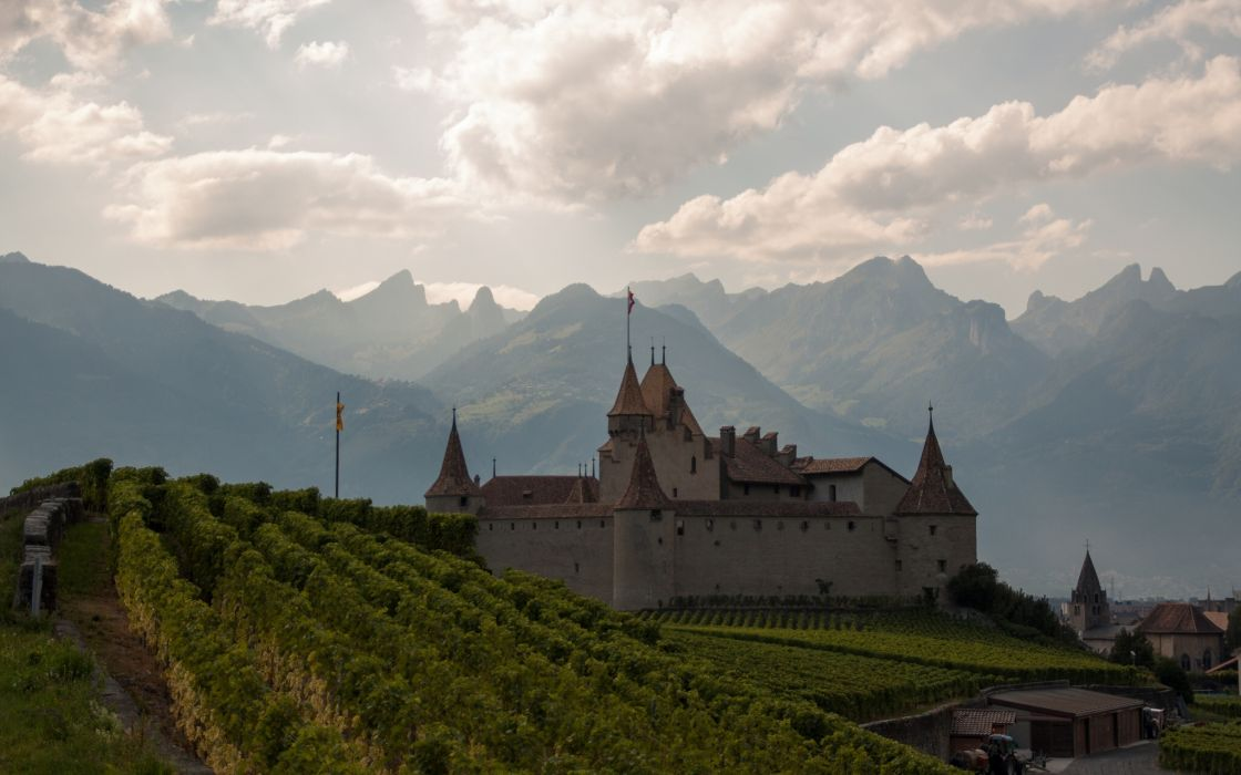Chateau dAigle Aigle Castle Switzerland Alps wallpaper