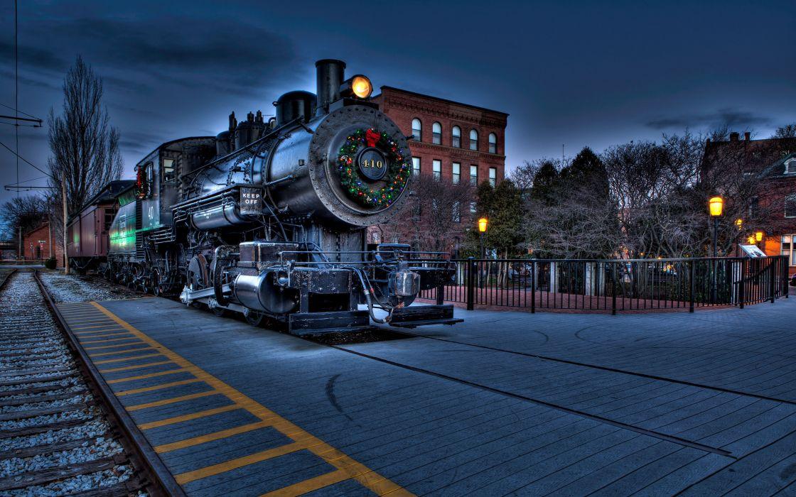 Boston locomotive railway city christmas wallpaper