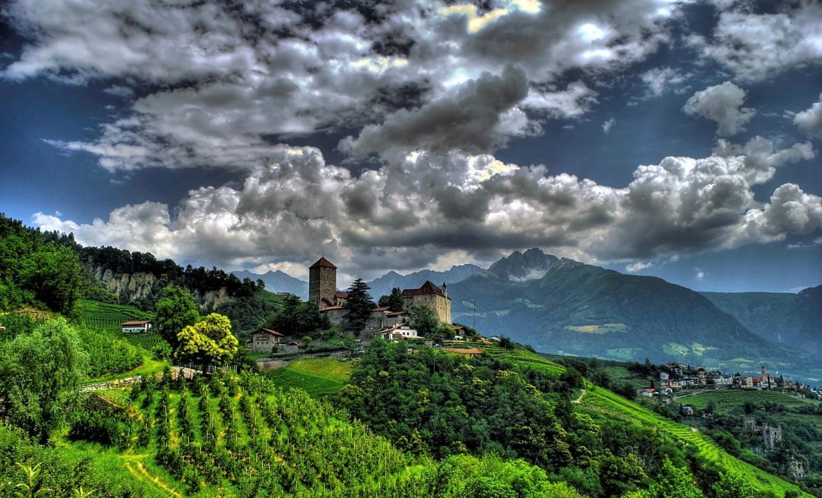 Italy castle mountains panorama landscape village wallpaper