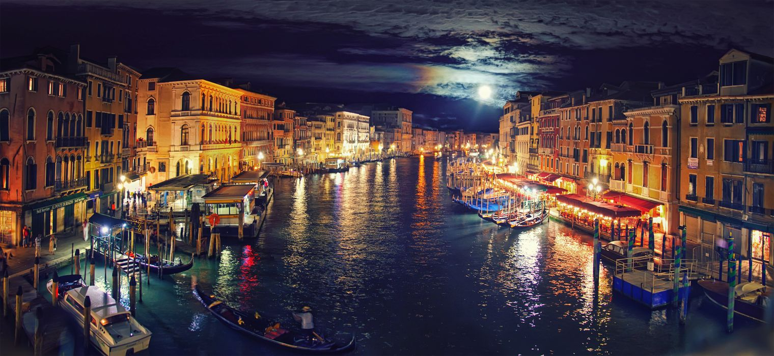 Italy Venice Grand Canal night reflection wallpaper