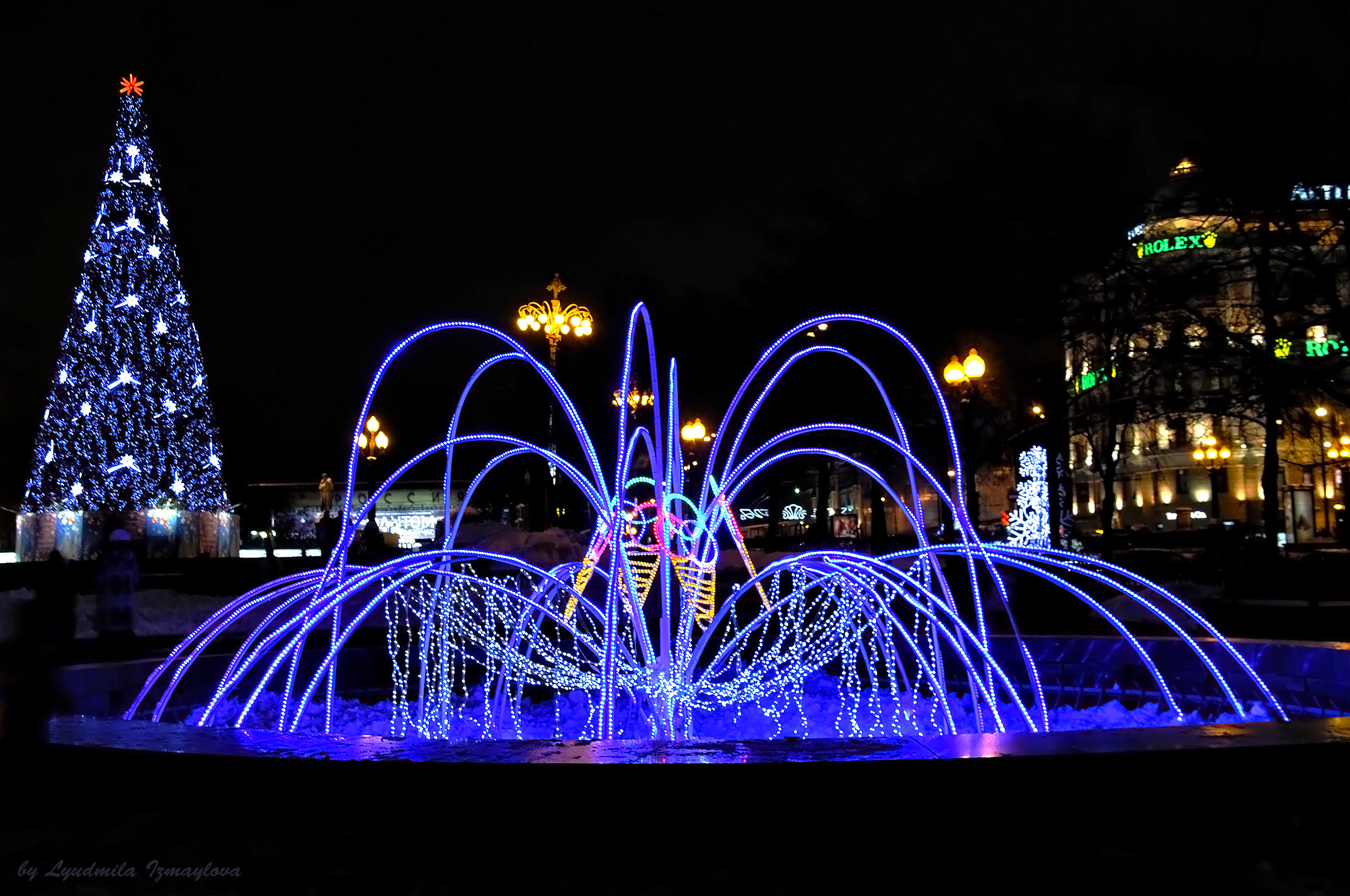 moscow night scene pushkin square christmas wallpaper | 2144x1424