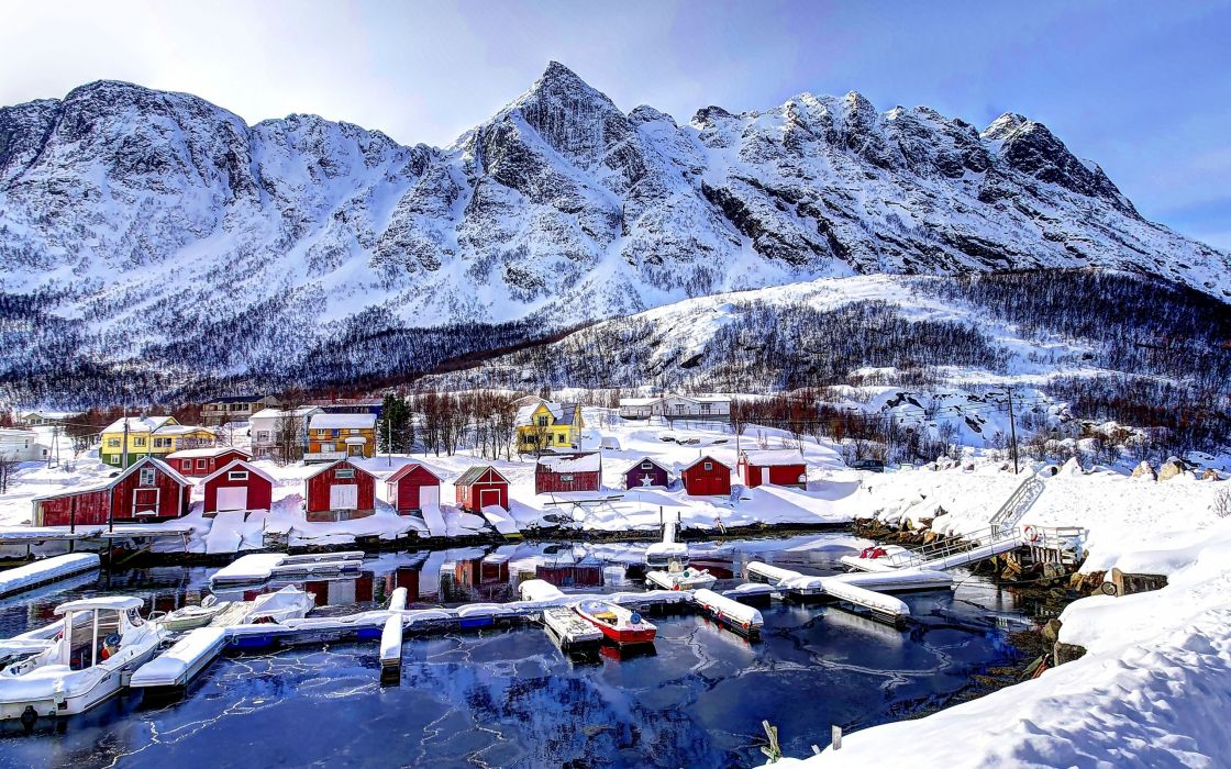 Norway mountains houses winter snow marina landscape wallpaper