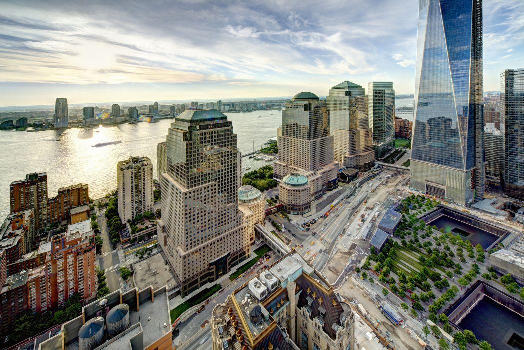 World Financial Center Manhattan New York City Hudson River view buildings river wallpaper