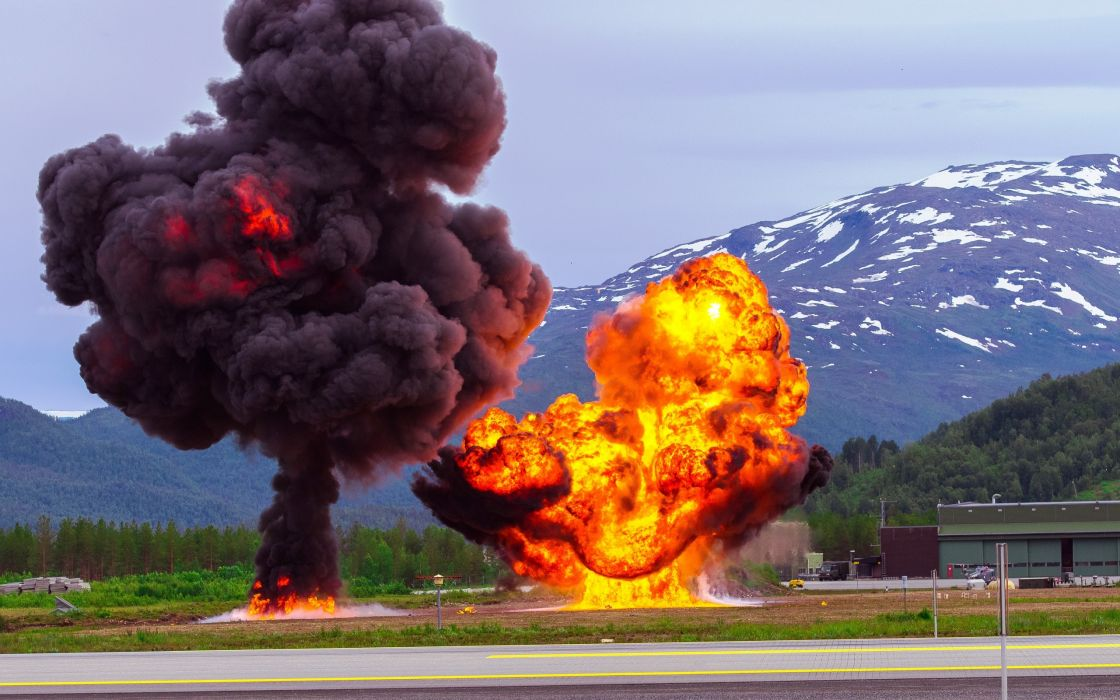 Norway mountains road military exercises explosion wallpaper