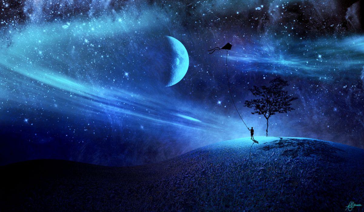 3d art fantasy sci-fi stars mood sky bokeh wallpaper