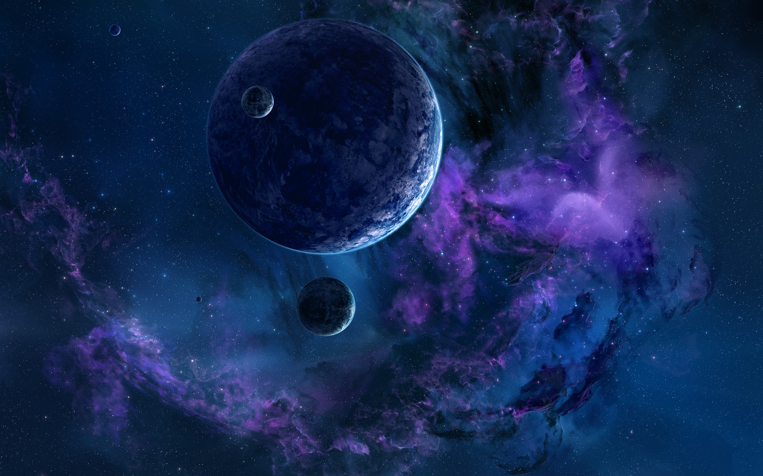 Space 3d art planet stars nebula g wallpaper 2560x1600 for 3d outer space