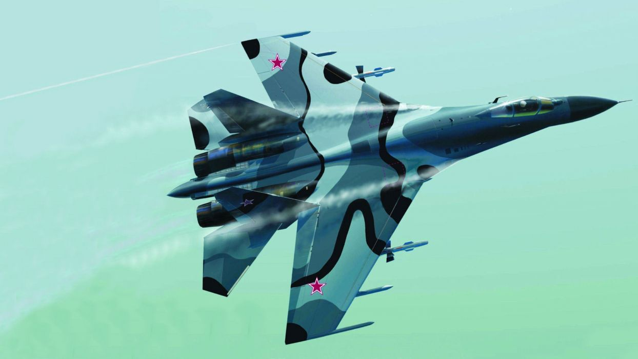 dude Su-27 flanker jet military wallpaper