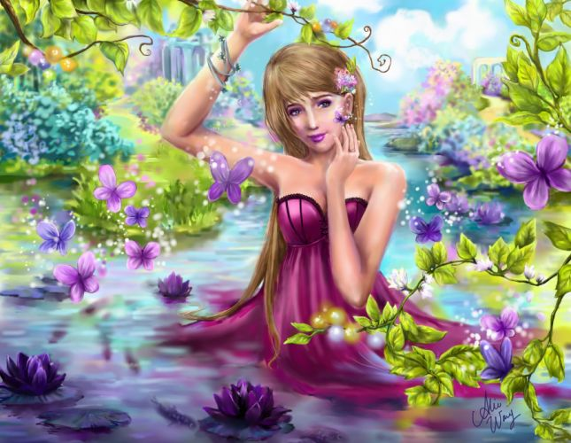 Butterflies Water lilies Pond Dress Fantasy Girls butterfly mood bokeh wallpaper