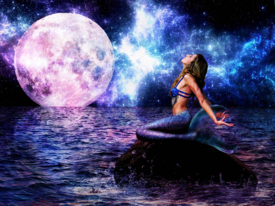 Mermaid Sea Moon Night Horizon Fantasy Girls wallpaper