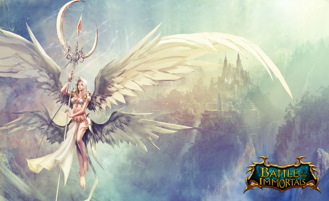 Battle of the Immornals Angel Wings Mage Staff Games Fantasy Girls wallpaper