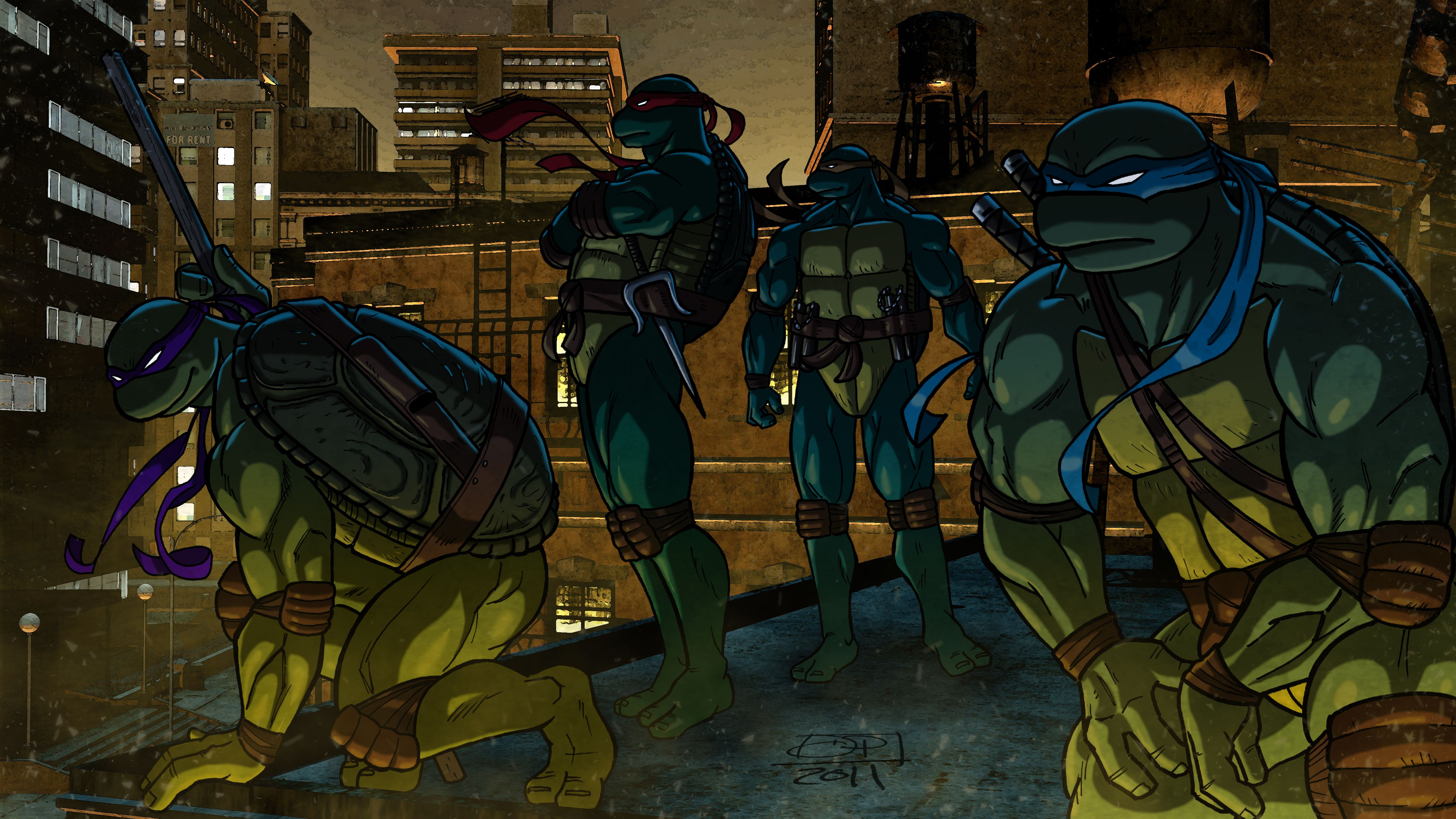 Teenage Mutant Ninja Turtles Warrior Cartoon wallpaper 4799x2700