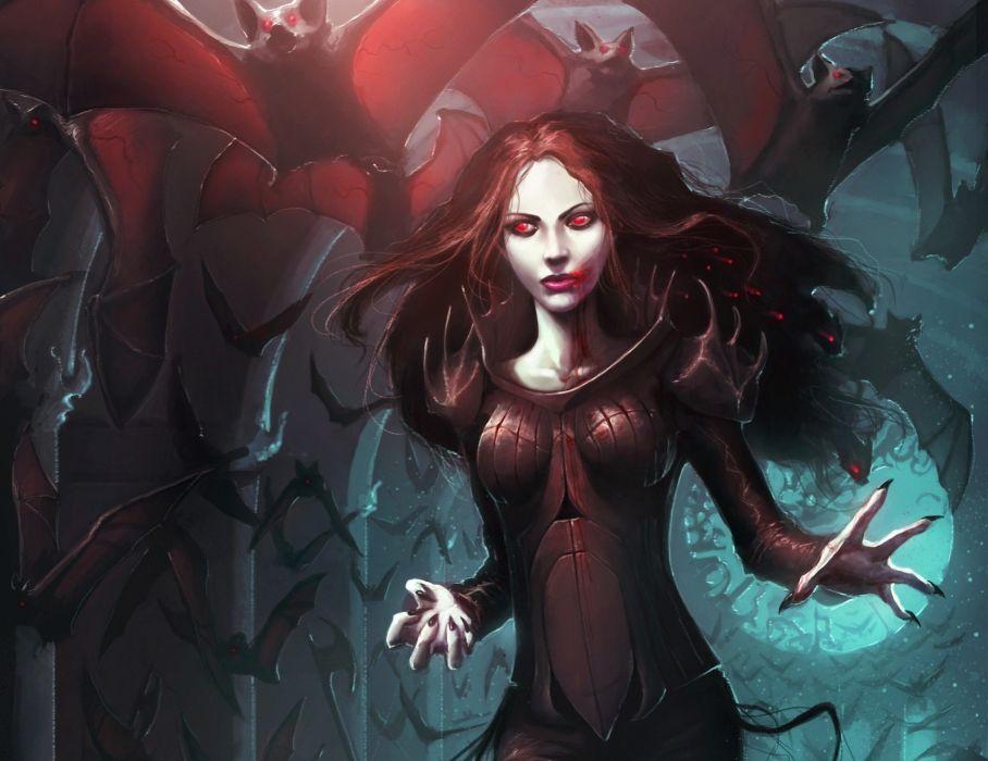 Vampire Bats Blood Fantasy Girls vampire gothic dark blood wallpaper