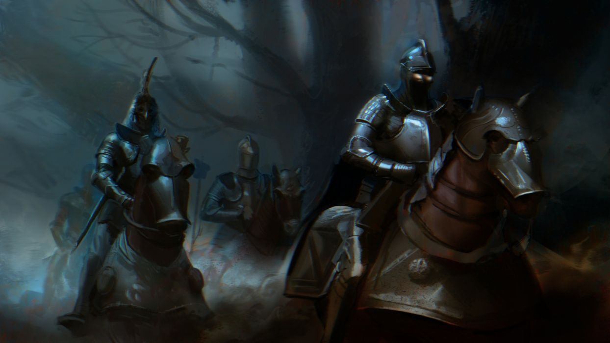 Warriors Horses Middle Ages Armor Fantasy warrior wallpaper