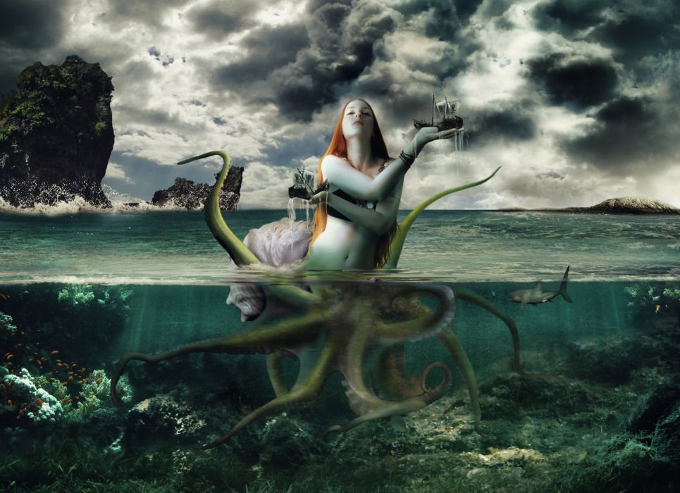 Supernatural beings Sea Underwater world Fantasy Girls ...