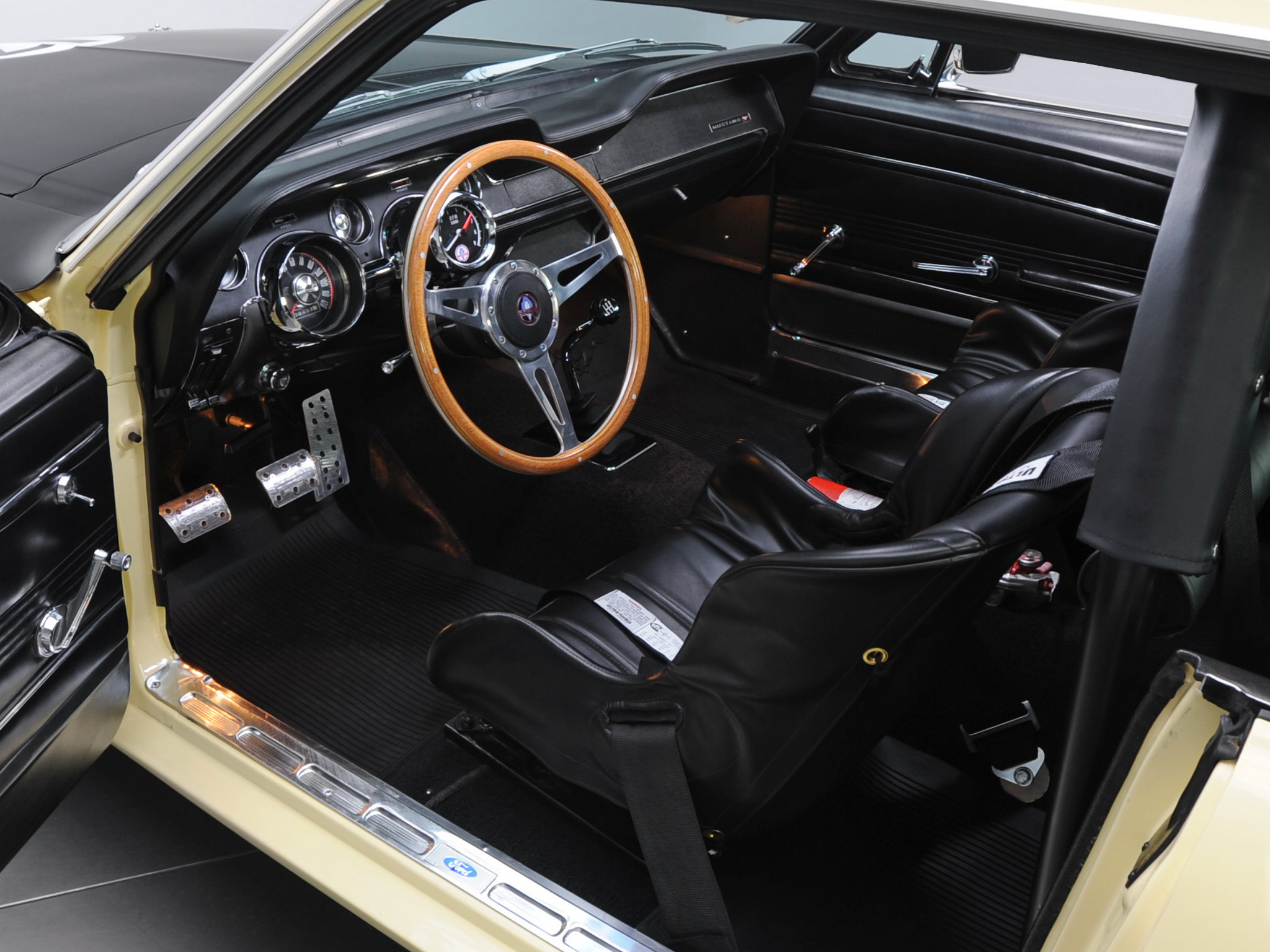1967 Ford Mustang Coupe Race Car 65b Racing Muscle Classic Interior H Wallpaper 2048x1536
