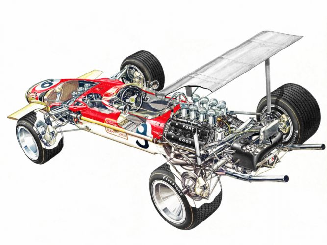 1968 Lotus 49B formula one f-1 race racing engine interior h wallpaper