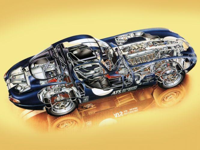 1962 Jaguar E-Type Low Drag Coupe Series-I Lightweight supercar race rascing classic engine interior g wallpaper