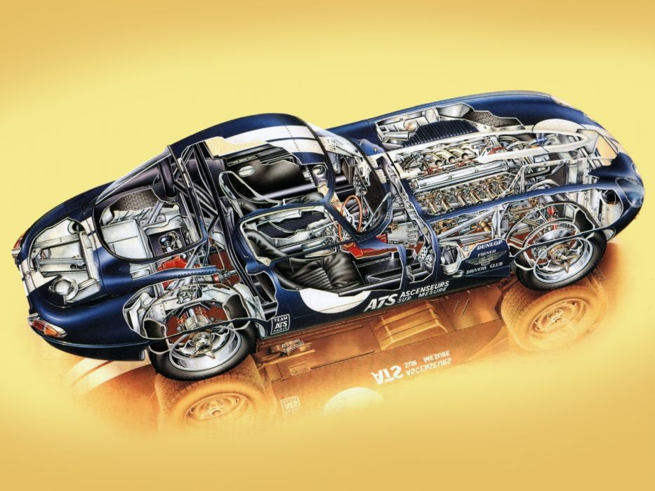 1962 Jaguar E-Type Low Drag Coupe Series-I Lightweight supercar race rascing classic engine interior     g wallpaper