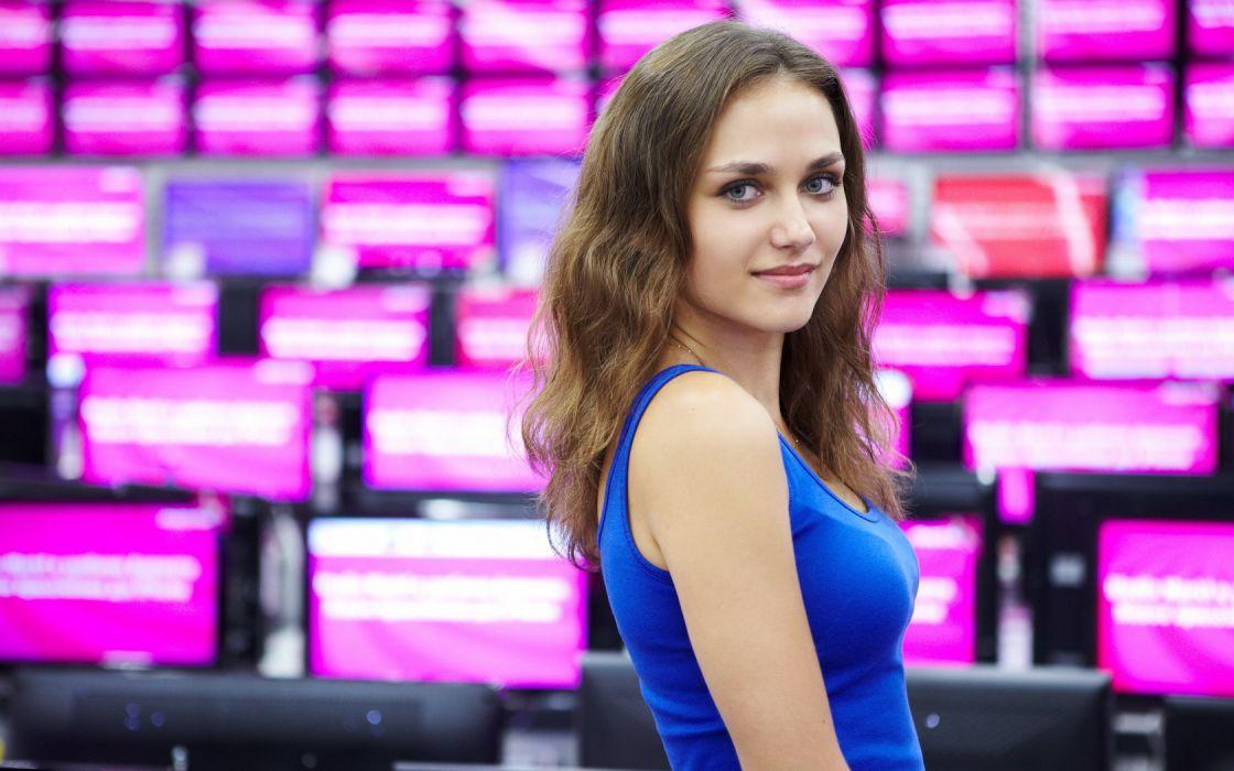 Woman Girl Beautiful Brunette Blue Eyes Zlatka_A wallpaper