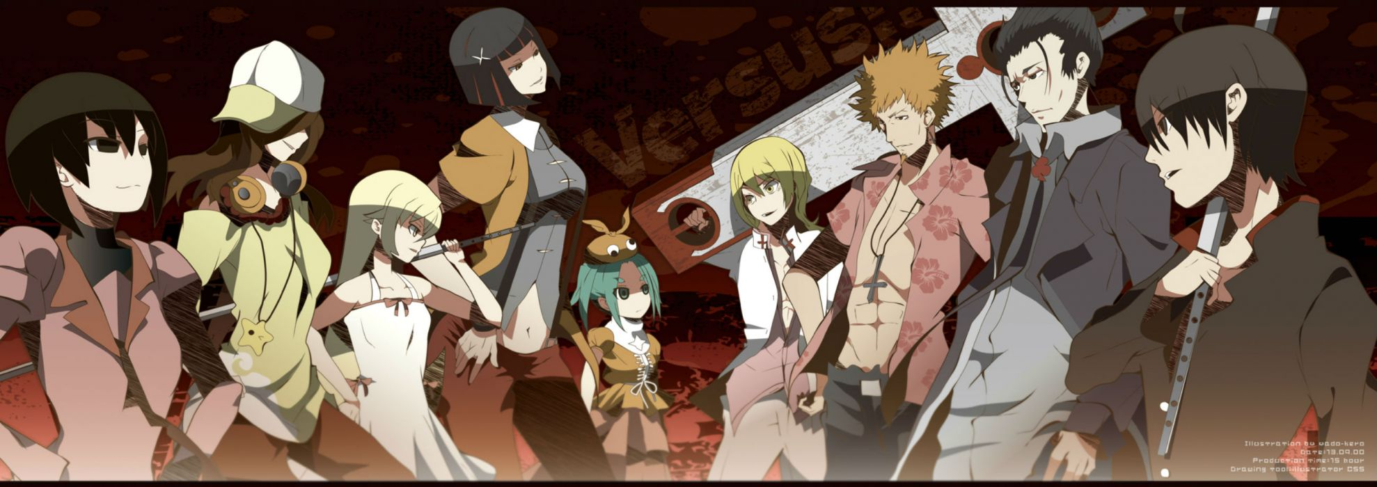 bakemonogatari cross episode gaen izuko headphones kagenui yozuru kaiki deishuu oshino meme oshino ougi oshino shinobu sword weapon yadokugaeru wallpaper