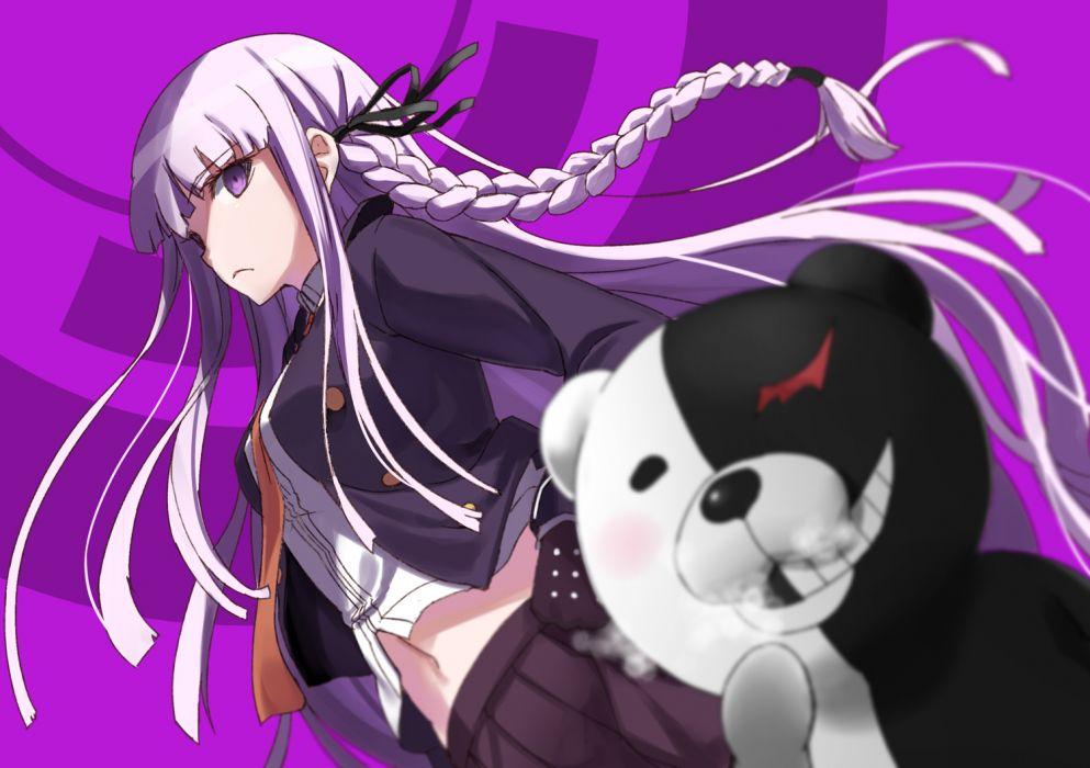 dangan-ronpa braids kirigiri kyouko long hair monokuma navel purple eyes purple hair skirt tie tokumaro wallpaper