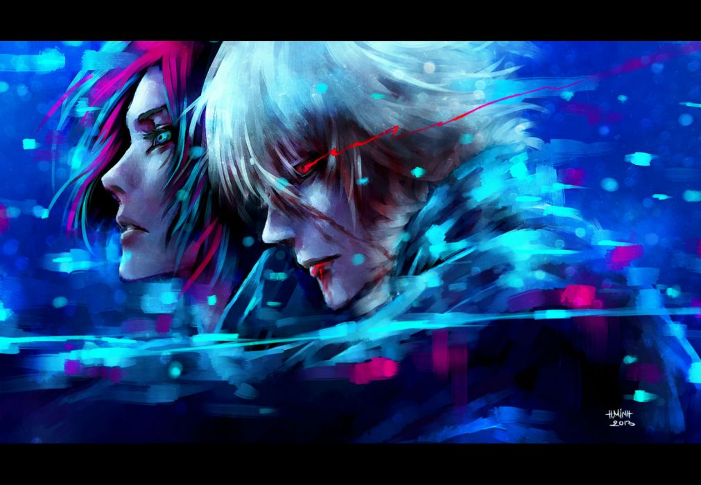 dogs bullets & carnage blue eyes haine rammsteiner nanfe red eyes red hair short hair tagme (character) white hair wallpaper