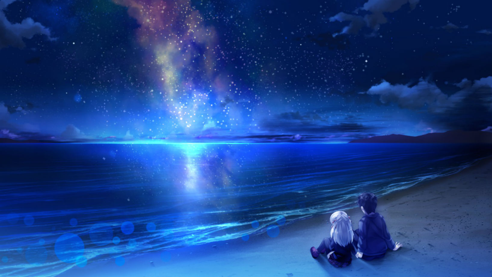 Beach at Night With Stars Wallpaper