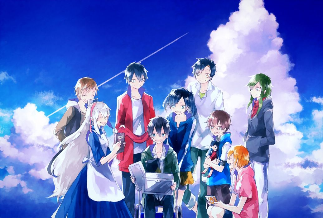 kagerou project amamiya hibiya clouds enomoto takane haruu shun kagerou project kano shuuya kido tsubomi kisaragi momo kozakura mary seto kousuke sky wallpaper