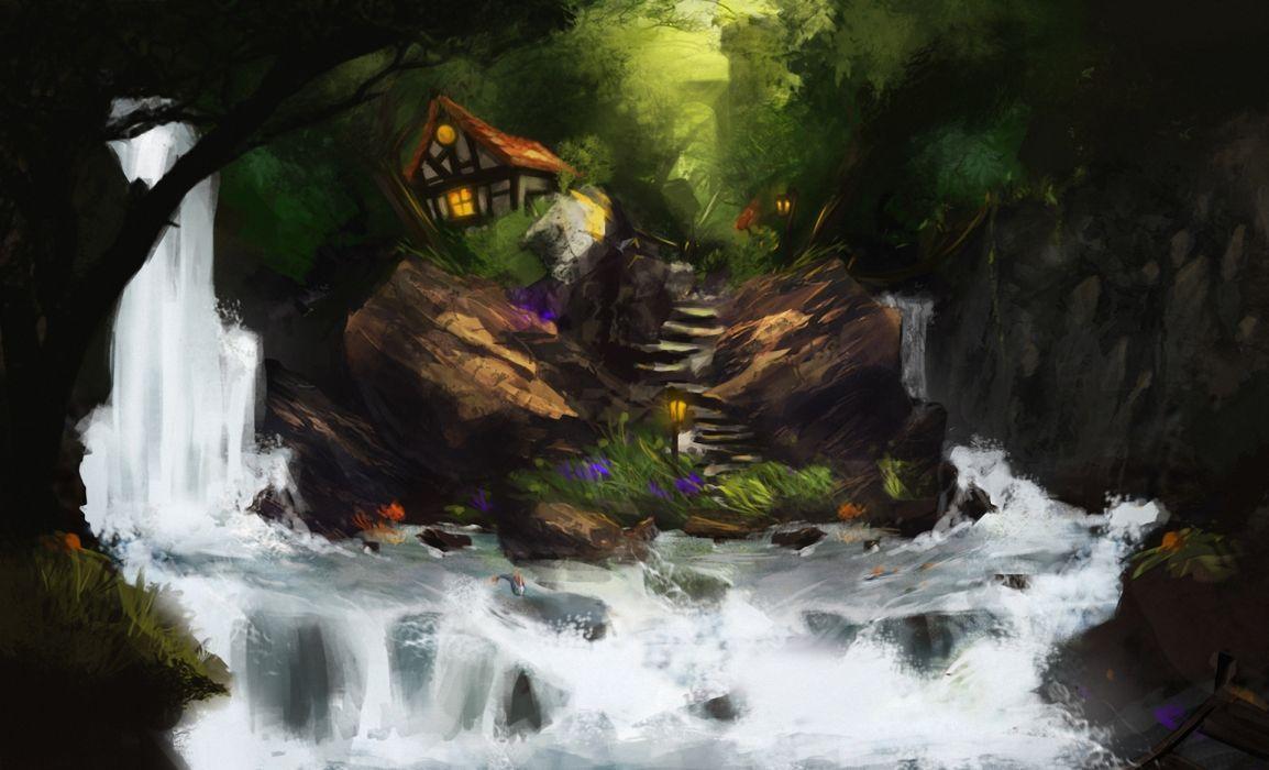 art lodge waterfall rocks water river rocks fish steps stairs skylight wood wallpaper