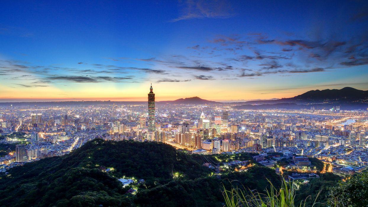 China Taipei Taiwan Night City Skyline Wallpaper