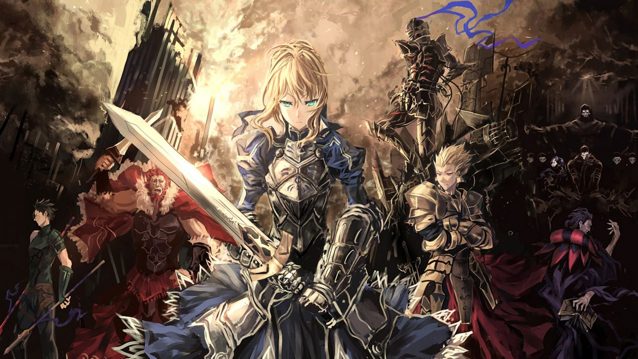 Fate Zero saber lancer caster rider berserker archer assassin servants armor weapons city wallpaper
