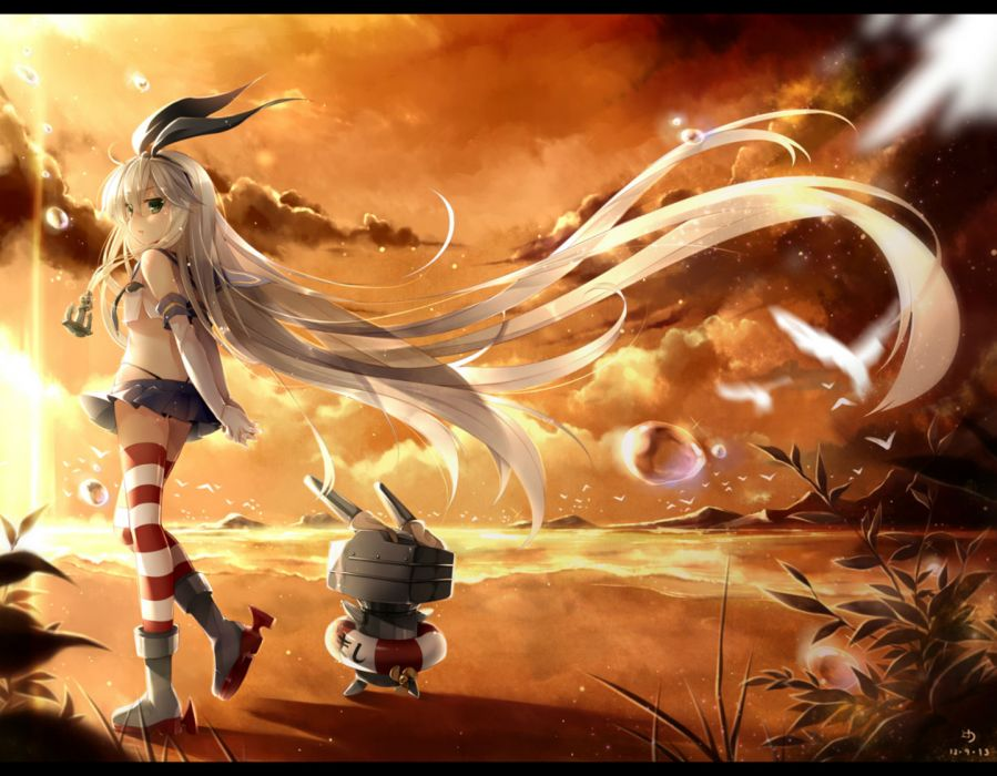 kantai collection beach elbow gloves long hair ninjinshiru shimakaze (kancolle) skirt sunset thighhighs wallpaper