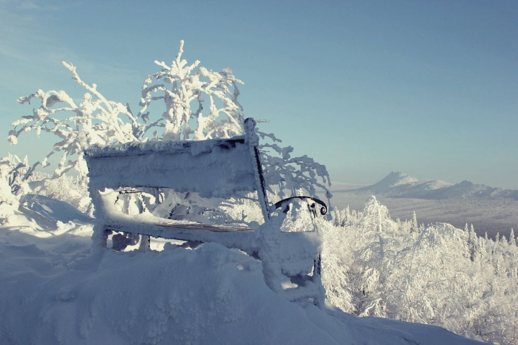 mountains winter snow bench bench trees wallpaper
