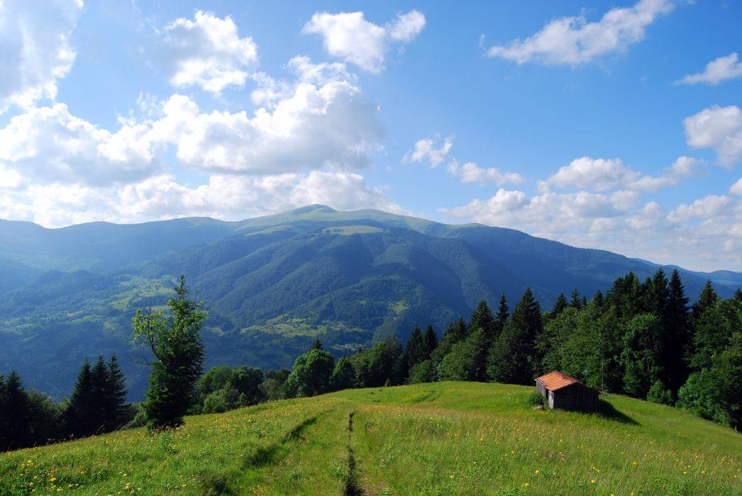 mountains Carpathians house field landscape wallpaper