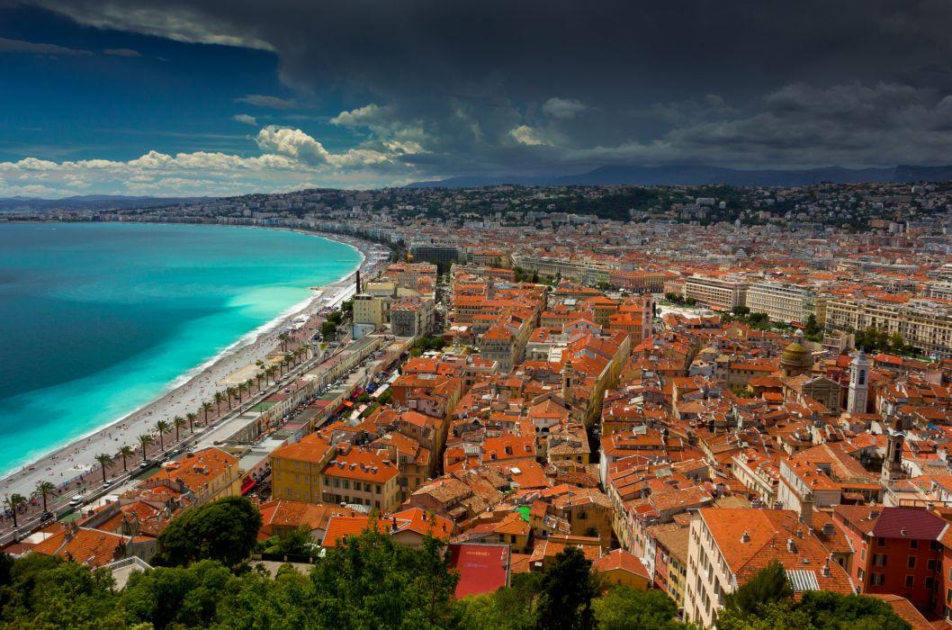 Nice France Cote D039azur Ligurian Sea Coast Panorama