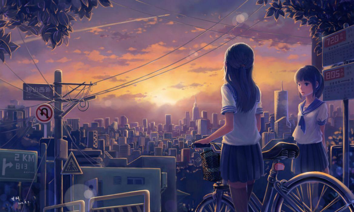 original girls bicycle city clouds jpeg artifacts original scenic seifuku sky sunset tyc001x zettai ryouiki wallpaper