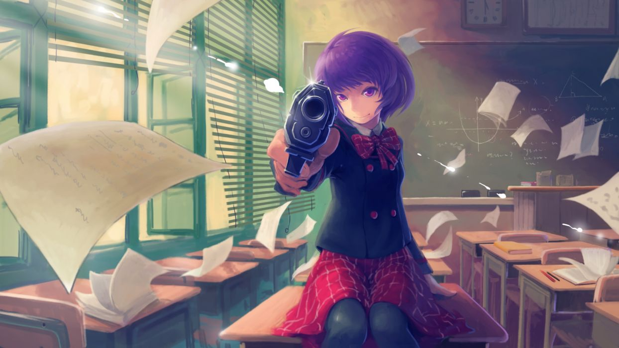 original gun paper purple eyes purple hair seifuku short hair tyc001x weapon wallpaper