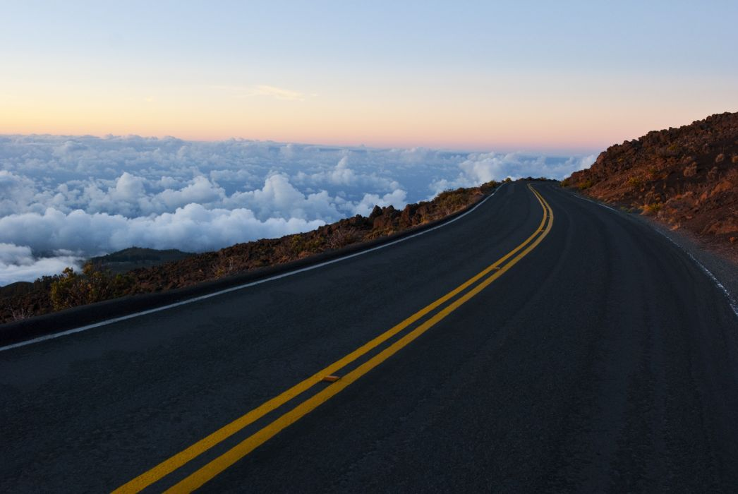 road clouds landscape wallpaper