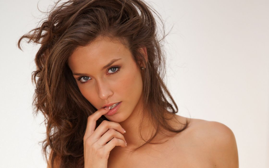 Woman Girl Beauty Finger in Mouth Brunette Malena Morgan wallpaper