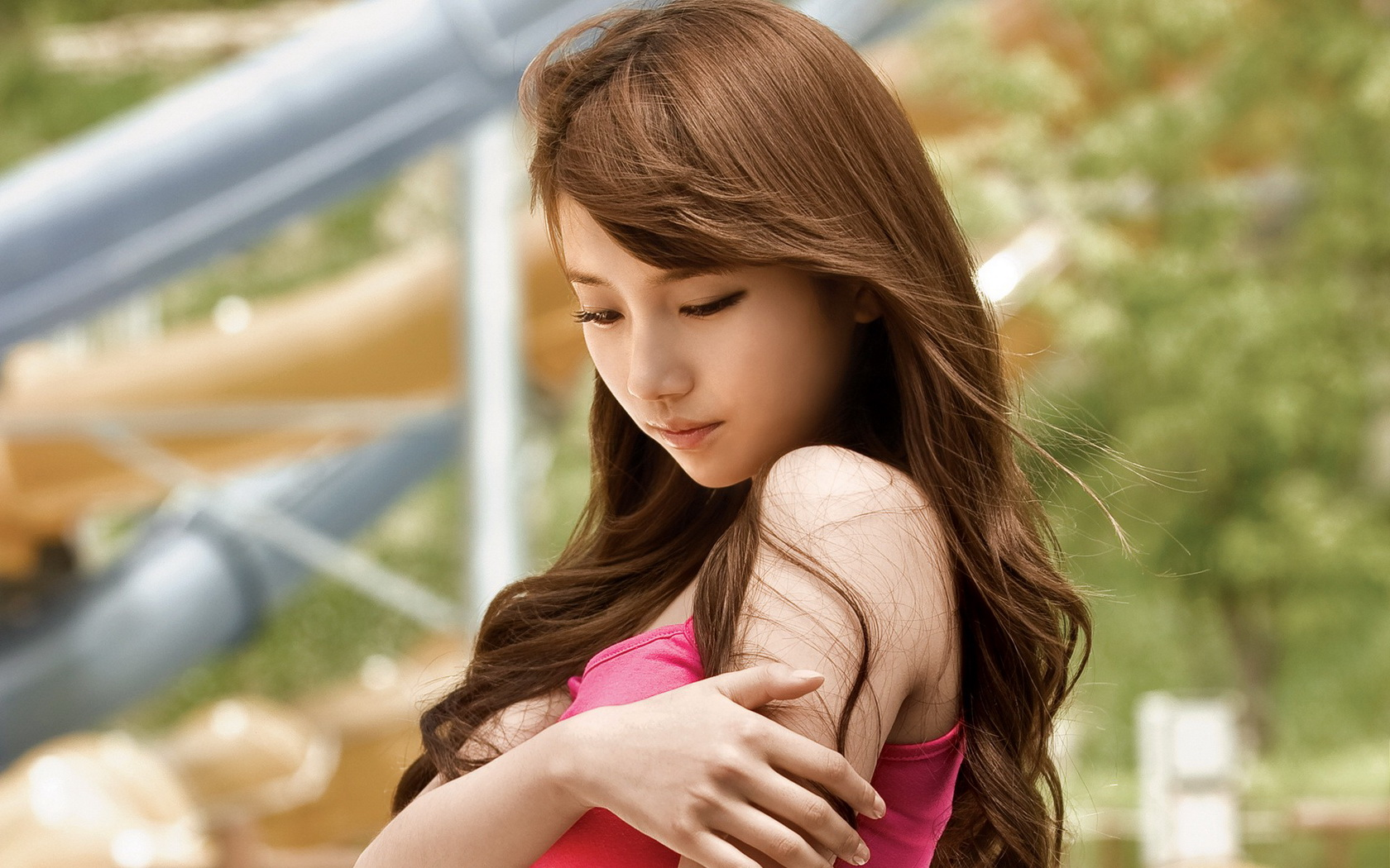 Asian girl long hair beautiful bare shoulder wallpaper 1680x1050 148861 wallpaperup - Asian schoolgirl wallpaper ...