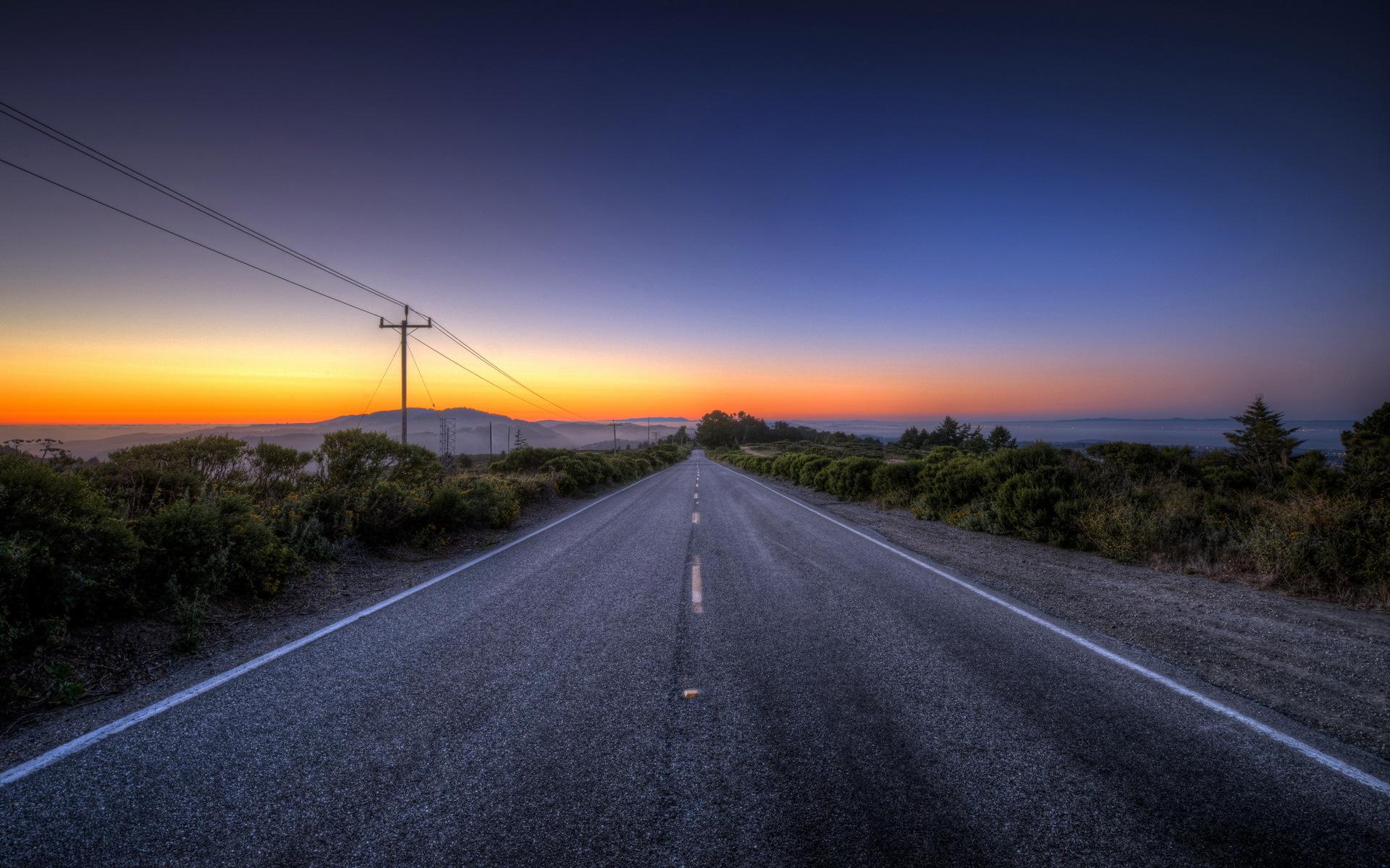 Sunset Road Landscape G Wallpaper 1920x1200 148889 Wallpaperup