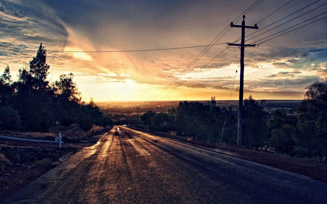 Sunset Road Landscape Wallpaper