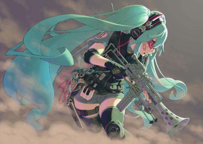vocaloid achako (badendo) gloves goggles gun hatsune miku headphones thighhighs vocaloid weapon gun wallpaper