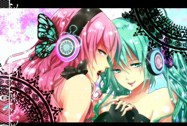 vocaloid blue eyes butterfly green eyes green hair hatsune miku headphones magnet (vocaloid) megurine luka pink hair vocaloid wallpaper