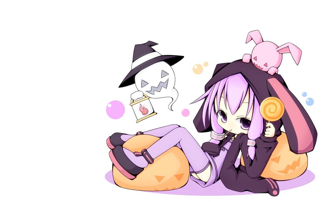 vocaloid chibi halloween lollipop miiya (kuroi hako) purple eyes purple hair thighhighs vocaloid yuzuki yukari wallpaper